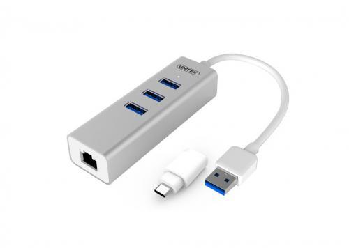 HUB USB 3P 3.0 + LAN UNITEK Y-3083B + ĐẦU ĐỔI TYPE-C
