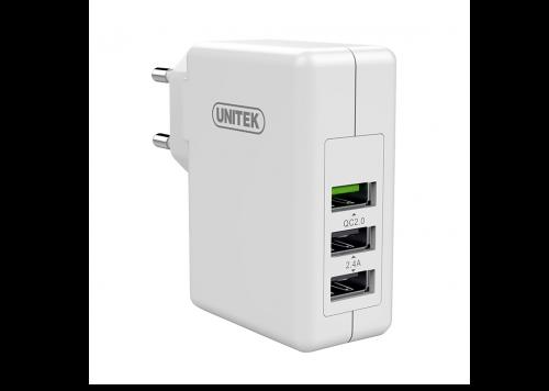 SẠC 24W 2 USB 2.4A + USB QC 2.0 UNITEK (Y-P 537A)