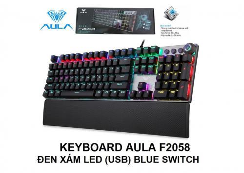 KEYBOARD AULA F2058 ĐEN XÁM LED (USB) BLUE SWITCH