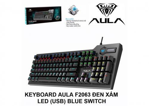 KEYBOARD AULA F2063 ĐEN XÁM LED (USB) BLUE SWITCH