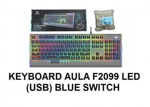 KEYBOARD AULA F2099 ĐEN XÁM LED (USB) BLUE SWITCH