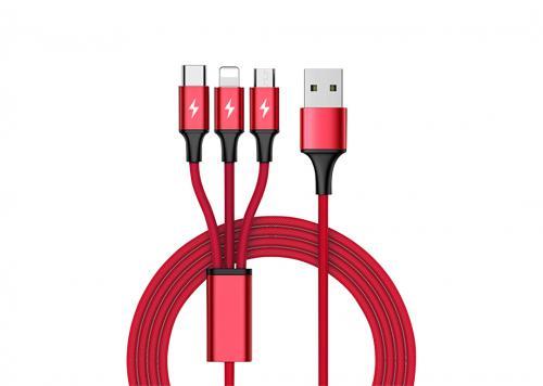 CÁP USB -> TYPE-C + MICRO USB + LIGHTNING 2.4A UNITEK (C4049RD)