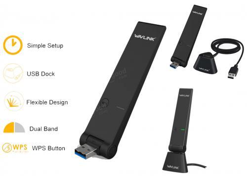 WAVLINK AC1300 DUALBAND USB MINI DOCK (WL-WN688U3D)