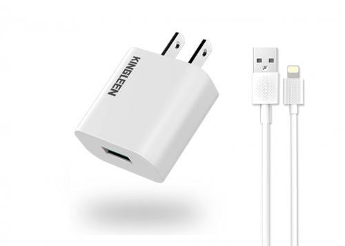 SẠC USB 2.1A + CÁP USB 2.0 -> LIGHTNING 1M KINGLEEN (C823)