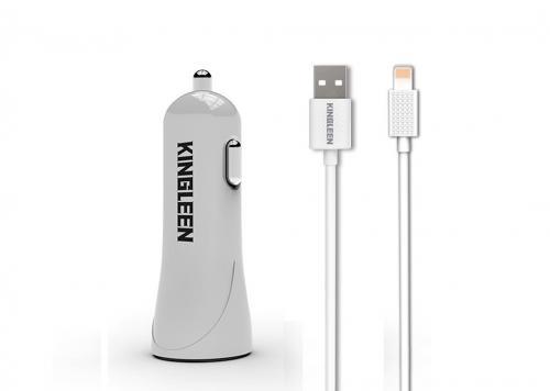 SẠC XE HƠI 2 USB 2.1A + CÁP USB -> LIGHTNING 1M KINGLEEN (C902)