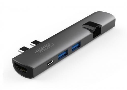 MTP HUB DUAL TYPE-C -> 2 USB 3.0 + HDMI + LAN UNITEK (D008A)