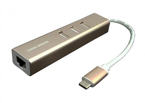 HUB TYPE-C -> 3 USB 2.0 + LAN KINGMASTER (KM007)